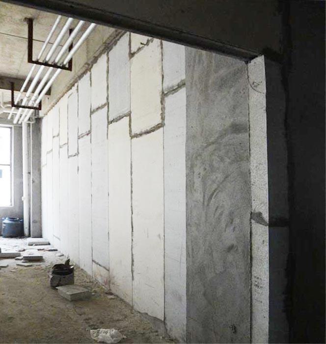 浙江温州某电商大楼轻质实芯隔墙板安装现场
